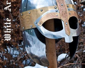 "Viking Helmet ""Arkona"" vendel helmet SCA LARP fantasy helmet steel helmet medieval helmet warrior helmet SCA armor sca helm armor"