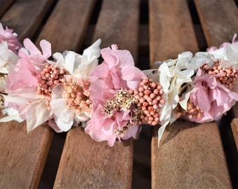 Headdress of preserved hydrangeas pink and white