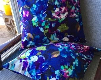Blue and Purple Watercolour Look Floral Cushion Cover 18x18inch 45x45cm Cushion Throw Cover