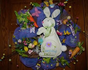 Spring,Easter Deco Mesh Wreath