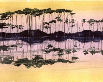 Western Lake 30a sunset limited edition watercolor print