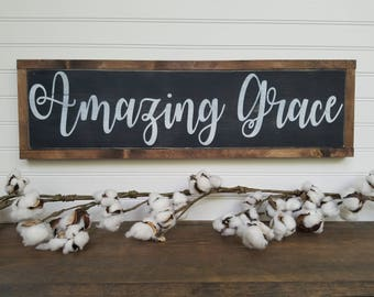 Amazing Grace Sign, Bible Verse Sign, Grace Sign, Inspirational Sign, Amazing, Grace, Handpainted Sign, Religious Sign,  Amazing Grace