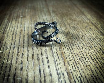 Sterling Siver Tentacle ring, Octopus Ring, punk style Jewellery, Kraken Ring, Pirate Ring, adjustable ring, Rustic Look, Handmade Ring