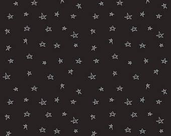 When Skies are Grey White Stars on Black by Riley Blake 112 x 25cm