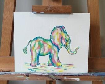Pastel Elephant - Original Oil Painting Artwork on MDF Board