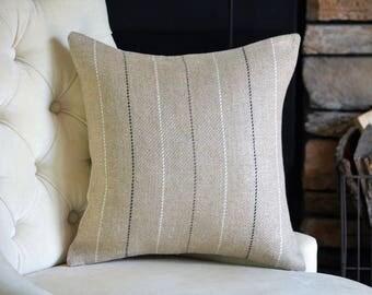 Beige Linen Decorative Throw Pillow Cover