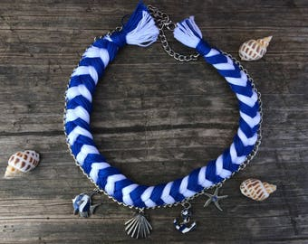 Blue Necklace, Crochet Necklace, Summer Season Necklace, Stripy Necklace