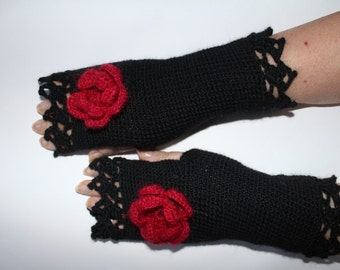 Black mittens with a red rose