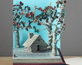 Woodland Cottage Laser-cut Greeting Card