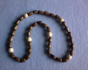 Brown and Taupe Colored Men's Beaded Necklace