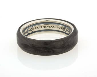 David Yurman Sterling Silver Streamline Beveled Edge Mens Band Ring