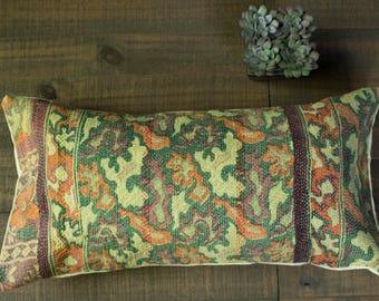 Vintage Kantha Quilt Pillow Green Throw Pillow Green Decorative pillow Indian Pillow Bohemian Pillow Green Bolster Pillow Boho Lumbar Pillow