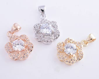 Micro pave flower charm,cube zircon sunflower charm,sunflower pendant,necklace,bracelet,earing,14k gold,rose gold and rhodium colors