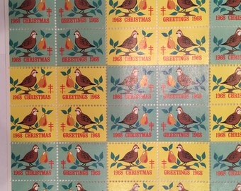 1968 Vintage Christmas Envelope Seals - American Lung Association