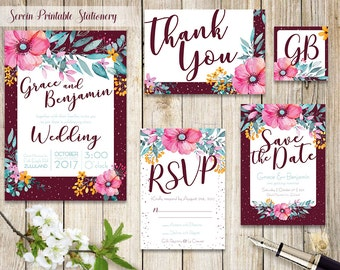 Kilig pink and maroon floral wedding invitation kit