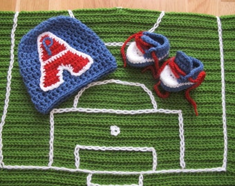 Baby blanket PSG with field football + Hat + booties, red, white and blue hand made by fairy M1 Creations crochet
