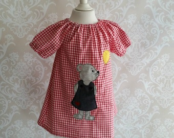 Bears tunic dress checkered red short-sleeved vichy bear
