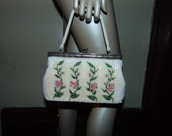 Vintage Beaded Floral Four Row Purse