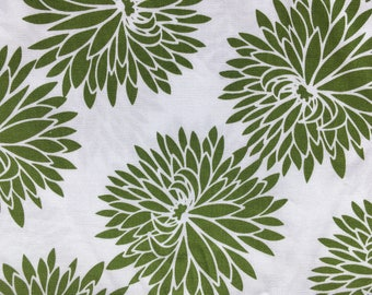 Quilting cotton Modern Green and White Mums  OOP   100%Premium cotton  5 yards available