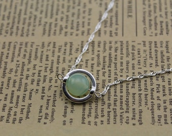 natural prehnite stone Sterling Silver necklace