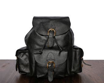 Backpack - Leather Backpack - Leather Backpack Men - Leather Rucksack - Three Pockets Leather Backpack - Handmade Rucksack - Black Leather