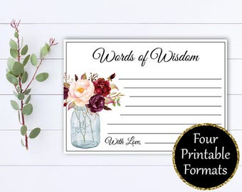 Words of Wisdom Bridal Shower cards - Words of Wisdom Cards - Advice Cards - Baby Shower Games - Printable Words of Wisdom Baby Shower Cards