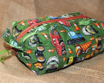 Quilted Zipper Pouch - medium, construction, green, brown zipper (cosmetic bag, toiletry bag, carryall)