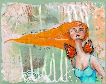 SHE FLIES | Inspiring Wall Art | Shabby Chic | Art Print | Whimsical Art | Whimsical Folk Art | Butterfly Wall Art | Girl Room Art