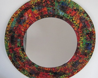Reverse Painted Art Glass Mosaic Mirror