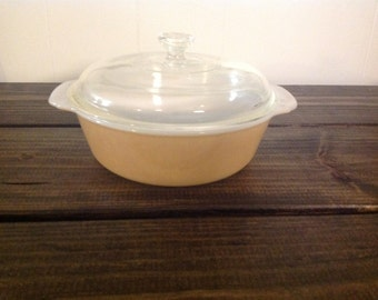 Vintage Fire King Peach Lustre 1.5 Quart Covered Casserole Dish