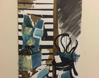 Mixed media painting of interior