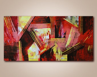 Large abstraction, Original Acrylic Painting, Ready to Hang, Office Design, Contemporary Modern Fine Art, Canvas, Large size, 24 x 48 in