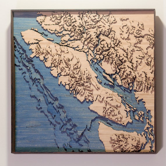 3D Laser Cut Topographic Map Of Vancouver Island