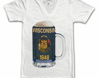 Ladies Wisconsin State Flag Beer Mug Tee, Home State Tee, State Pride, State Flag, Beer Tee, Beer T-Shirt, Beer Thinkers, Beer Lovers Tee