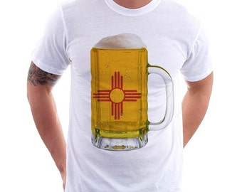 New Mexico State Flag Beer Mug Tee, Home State Tee, State Pride, State Flag, Beer Tee, Beer T-Shirt, Beer Thinkers, Beer Lovers Tee