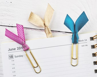 Planner Page Marker, Ribbon Bookmarks, Gold Planner Clips, Diary Accessories, Satin Ribbon Planner Clips, Fuchsia, Gold, Teal, Set of 3 Clip
