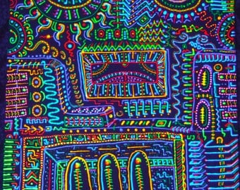 Small psychedelic fluorescent original painting uv-reactive fantastic bright dots lines chaos colorful gadget-maniac
