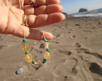 Turquoise and Citrine Hemp Necklace for Prosperity
