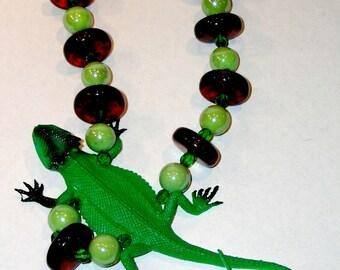 Green iguana necklace