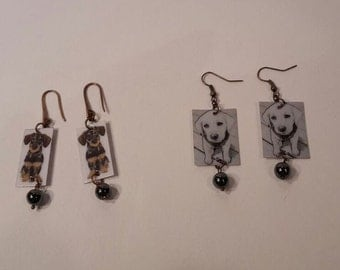 earrings with puppies, dachshund, labrador