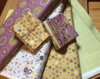 fat Quarter Bundle, quilt fabric bundle, mauve mustard, 100% cotton quilting fabric, Inprint Jane Makower - Folk