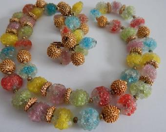 Delicious NAPIER Gum Drop Molded Glass Necklace & Earrings