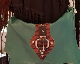 Leather Bag/Turquoise Leather Purse/Leather Fringe Bag/Leather Fringe purse/Leather HOBO/ Summer Turquoise Leather/Leather Purse/Crossbody