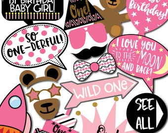 Girl's 1st Birthday Photo Booth Props - 31 Printable Props, First Birthday Cake, Teddy Bear, Princess Hat, Glasses - INSTANT DOWNLOAD PDF
