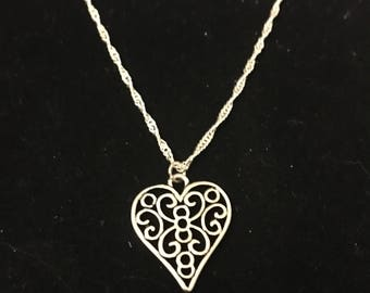 Silver Heart With Scrollwork Necklace