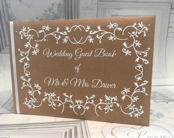 Rustic Lace Personalised Wedding Guest Book, Anniversary, Leaving, Celebration Book, Condolence Book, Memory Book