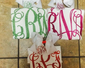 Vinyl monogrammed shirt and Matching monogrammed bow