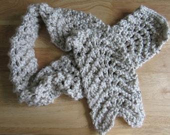 Hand Knit Tan Chunky Knit Scarf