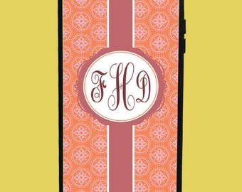 Orange Design Phone Case with 3 initials.  Customized Name. Monogrammed Case. Personalized.