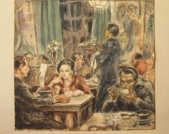 1930's original watercolor by Algot Stenbery